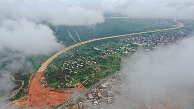 Aerial view from Owerri Interchange towards Onitsha site and Niger Bridge